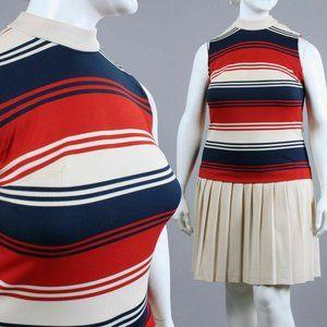 XXL PLUS Vintage 60s MCM Drop Waist Mini Dress